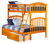 Atlantic Furniture Richland Bunk Bed Twin over Full Flat Panel Caramel Latte