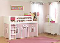 Bolton Furniture Cottage Twin Low Loft Bed, White, with Pink/White Bottom Playhouse Curtain