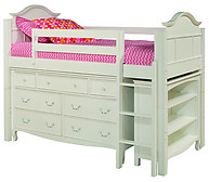 Bolton Furniture Emma Twin Low Loft Storage Bed with Emma 7-Drawer Dresser and Bookcase White