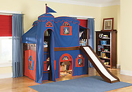 Bolton Furniture Mission Twin Low Loft Bed, Cherry, with Blue/Red Tower, Top Tent, Playhouse Curtain and Slide