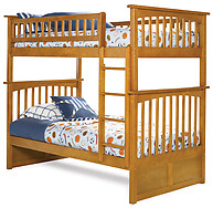 Atlantic Furniture Columbia Bunk Bed Twin over Twin Caramel Latte