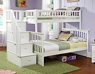 Atlantic Furniture Columbia Stair Bunk Bed Twin Over Full White