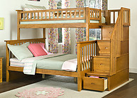Atlantic Furniture Columbia Stair Bunk Bed Twin Over Full Caramel Latte
