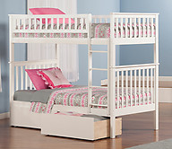 Atlantic Furniture Woodland Bunk Bed Twin over Twin Flat Panel White