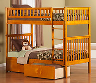 Atlantic Furniture Woodland Bunk Bed Twin over Twin Flat Panel Caramel Latte