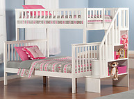 Atlantic Furniture Woodland Stair Bunk Bed Twin over Full White