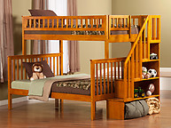 Atlantic Furniture Woodland Stair Bunk Bed Twin over Full Caramel Latte