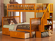 Atlantic Furniture Woodland Stair Bunk Bed Twin over Full Flat Panel Caramel Latte