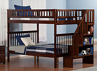Atlantic Furniture Woodland Stair Bunk Bed Full over Full Antique Walnut