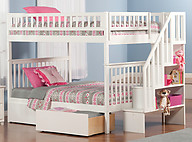 Atlantic Furniture Woodland Stair Bunk Bed Full over Full Flat Panel White