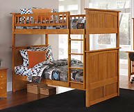 Atlantic Furniture Nantucket Bunk Bed Twin over Twin Caramel Latte
