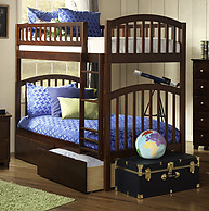Atlantic Furniture Richland Bunk Bed Twin over Twin Flat Panel Antique Walnut