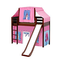 Maxtrix AWESOME 28 Mid Loft Bed with Straight Ladder, Slide, Top Tent and Underbed Curtain
