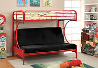 Furniture of America Rainbow Twin/Futon Base Bunk Bed Red