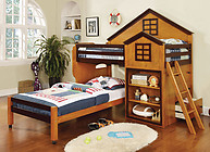 Furniture of America Citadel Bunk Bed Oak & Walnut