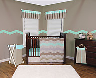 Trend Lab Cocoa Mint 3PC Crib Bedding Set
