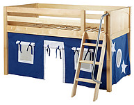 Maxtrix Easy Rider 22 Low Loft Bed with Angle Ladder and Curtain