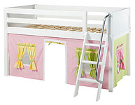 Maxtrix Easy Rider 25 Low Loft Bed with Angle Ladder and Curtain