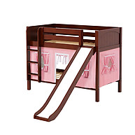 Maxtrix SMILE 23 Low Bunk Bed with Straight Ladder, Slide & Curtain