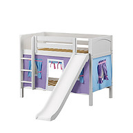 Maxtrix SMILE 27 Low Bunk Bed with Straight Ladder, Slide & Curtain