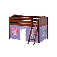 Maxtrix Easy Rider 56 Low Loft Bed with Angle Ladder and Curtain