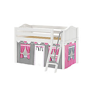 Maxtrix Easy Rider 57 Low Loft Bed with Angle Ladder and Curtain