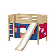 Maxtrix SMILE 21 Low Bunk Bed with Straight Ladder, Slide & Curtain