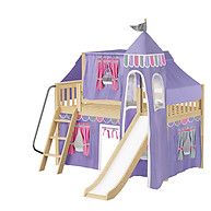 Maxtrix WOW 56 Low Loft Bed with Angled Ladder, Tower, Top Tent & Curtain and Slide