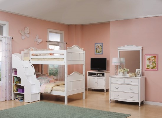 White Bunk Bed with Stairs 549 x 400