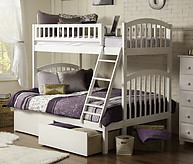 Atlantic Furniture Richland Bunk Bed Twin over Full Flat Panel White
