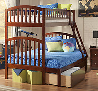 Atlantic Furniture Richland Bunk Bed Twin over Full Flat Panel Antique Walnut