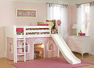Bolton Furniture Cottage Twin Low Loft Bed, White, with Pink/White Bottom Playhouse Curtain and Slide