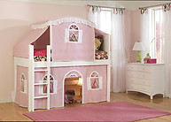 Bolton Furniture Cottage Twin Low Loft Bed, White, with Pink/White Top Tent and Bottom Playhouse Curtain