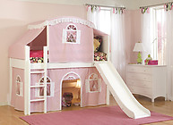 Bolton Furniture Cottage Twin Low Loft Bed, White, with Pink/White Top Tent Bottom Playhouse Curtain and Slide