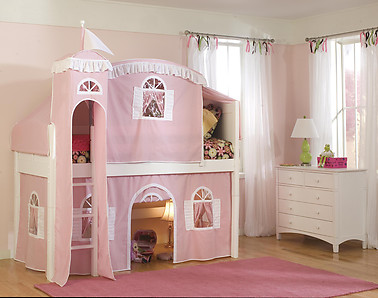 Bolton Furniture Cottage Twin Low Loft Bed, White, with Pink/White Tower, Top Tent and Bottom Playhouse Curtain