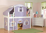Bolton Furniture Windsor Twin Low Loft, White, with Lilac/White Top Tent, Bottom Playhouse Curtain
