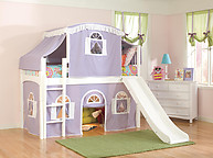Bolton Furniture Windsor Twin Low Loft, White, with Lilac/White Top Tent, Bottom Playhouse Curtain and Slide