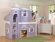 Bolton Furniture  Windsor Twin Low Loft, White, with Lilac/White Tower, Top Tent, Bottom Playhouse Curtain