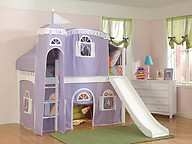 Bolton Furniture Windsor Twin Low Loft, White, with Lilac/White Tower, Top Tent, Bottom Playhouse Curtain and Slide