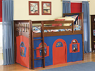 Bolton Furniture Mission Twin Low Loft Bed, Cherry, with Blue/Red Bottom Playhouse Curtain