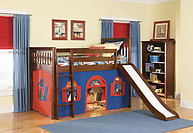 Bolton Furniture Mission Twin Low Loft Bed, Cherry, with Blue/Red Bottom Playhouse Curtain and Slide
