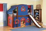 Bolton Furniture Mission Twin Low Loft Bed, Cherry, with Blue/Red Top Tent, Bottom Playhouse Curtain and Slide