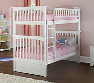 Atlantic Furniture Columbia Bunk Bed Twin over Twin White
