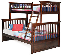 Atlantic Furniture Columbia Bunk bed Twin over Full Antique Walnut