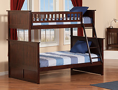 Atlantic Furniture Nantucket Bunk Bed Twin over Full Antique Walnut