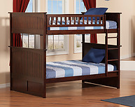 Atlantic Furniture Nantucket Bunk Bed Full over Full Antique Walnut