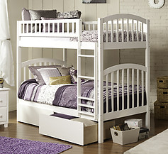 Atlantic Furniture Richland Bunk Bed Twin over Twin Flat Panel White
