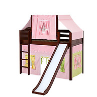 Maxtrix AWESOME 25 Mid Loft Bed with Straight Ladder, Slide, Top Tent and Underbed Curtain