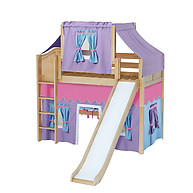 Maxtrix AWESOME 27 Mid Loft Bed with Straight Ladder, Slide, Top Tent and Underbed Curtain