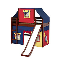 Maxtrix AWESOME 29 Mid Loft Bed with Straight Ladder, Slide, Top Tent and Underbed Curtain